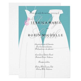 Tarjeta Boda lesbiano del vestido de boda de dos novias
