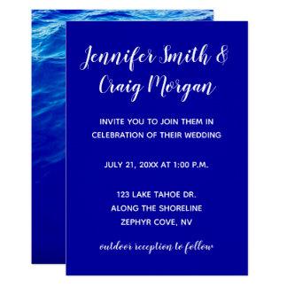 Tarjeta Boda moderno de la caligrafía del agua azul