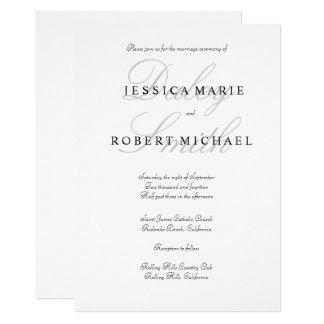 Tarjeta Boda negro y blanco de la tipografía elegante