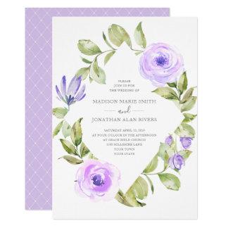Tarjeta Boda púrpura del diamante floral elegante de la