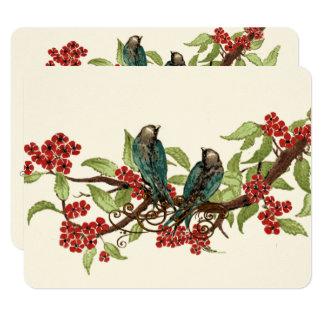 Tarjeta Boda rojo de la flor de cerezo del pájaro del amor