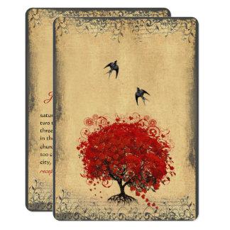 Tarjeta Boda rojo del pájaro del amor del árbol de la hoja