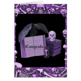Tarjeta Boda romántico púrpura de Spellbook del cráneo