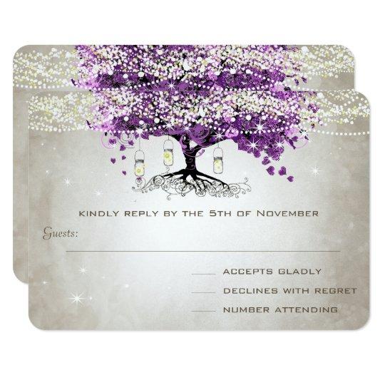 Tarjeta Boda romántico púrpura radiante de la hoja del