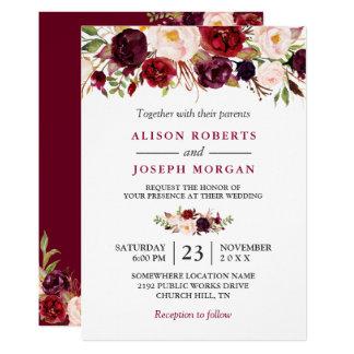 Tarjeta Boda rústico floral rojo de Borgoña Boho de la