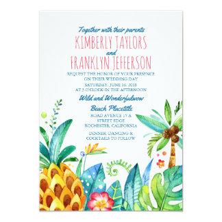Tarjeta boda tropical de las palmas de la playa de la piña