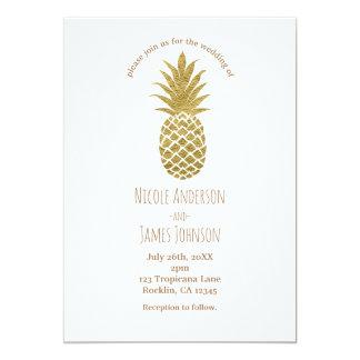 Tarjeta Boda tropical elegante moderno blanco de la piña