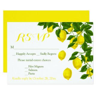 Tarjeta Boda verde de RSVP de los limones amarillos de la