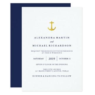 Tarjeta | bodas costero del ancla de la marina de guerra y