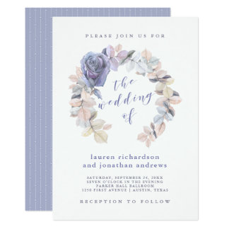 Tarjeta Bodas púrpuras y grises | suaves color de rosa