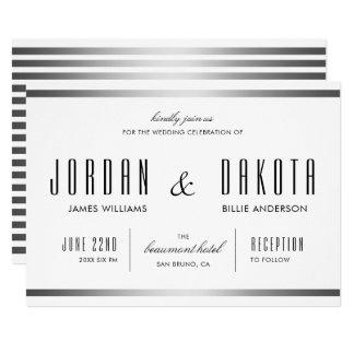 Tarjeta Bodases de plata blancas de la tipografía   y