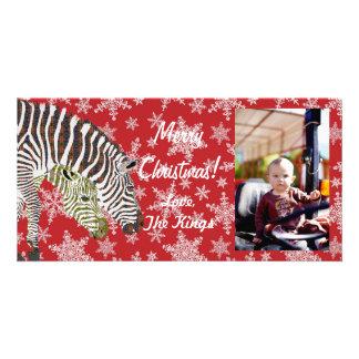 Tarjeta bohemia de la foto del navidad de la cebra tarjeta con foto personalizada