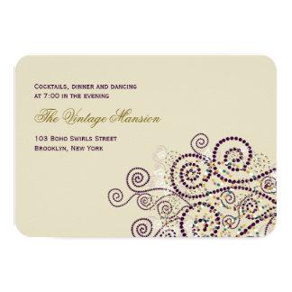 Tarjeta Boho púrpura elegante tuerce en espiral recepción