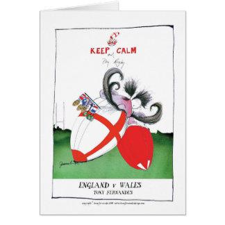 Tarjeta bolas de rugbi de Inglaterra v País de Gales de