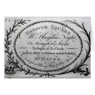 """Tarjeta Boleto a """"Night de Sr. Haydn"""" en Hannover"""