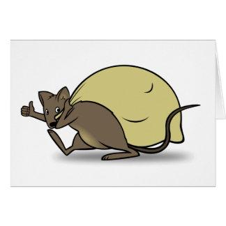 Tarjeta Bolso del ratón del dibujo animado y del donante