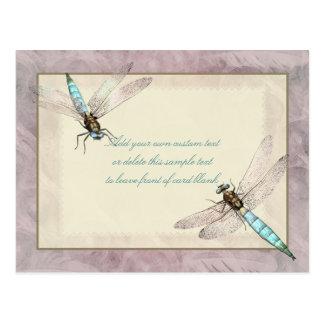 Tarjeta bonita del mensaje de las libélulas postal