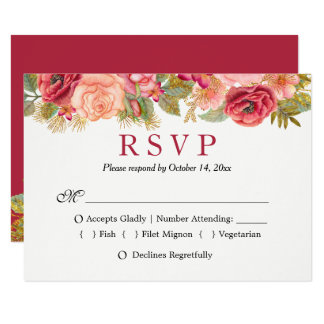 Tarjeta Borgoña RSVP que se casa floral rojo marrón