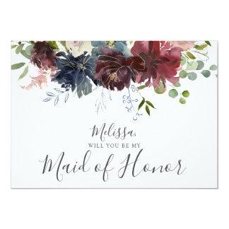 Tarjeta Borgoña y floral azul sean mi criada del honor