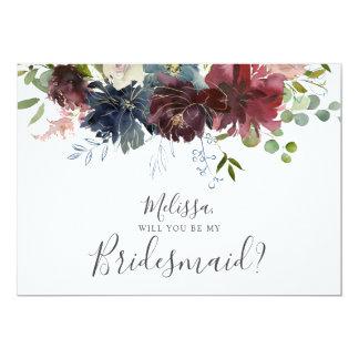 Tarjeta Borgoña y voluntad floral azul usted sea mi dama