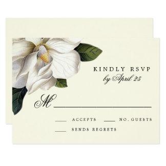 Tarjeta botánica de RSVP de la magnolia que se Invitación 8,9 X 12,7 Cm