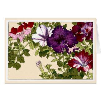 Tarjeta botánica del arte de las petunias bonitas