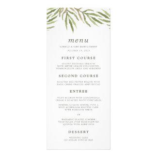 Tarjeta botánica del menú del boda de la acuarela plantillas de lonas