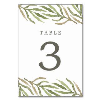 Tarjeta botánica del número de la tabla de la