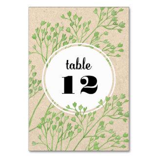 Tarjeta botánica del número de la tabla del boda