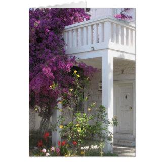 Tarjeta Bougainvillea rosado que crece fuera de una casa,