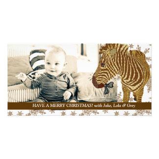 Tarjeta brillante de la foto del navidad del copo tarjetas personales con fotos