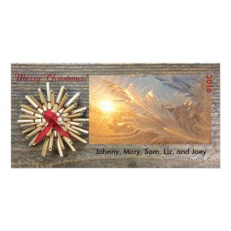 Tarjeta brillante de la foto del navidad rústico tarjeta fotográfica personalizada
