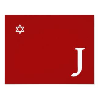 Tarjeta brillante de RSVP del monograma de Mitzvah Invitación 10,8 X 13,9 Cm