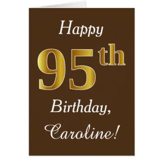 Tarjeta Brown, 95.o cumpleaños del falso oro + Nombre de