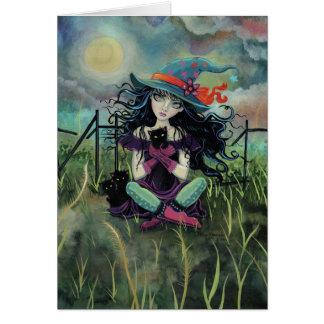 Tarjeta Bruja de Halloween con arte de la fantasía de los