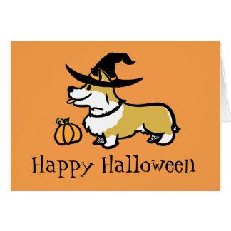 Tarjeta Bruja de Halloween del Corgi