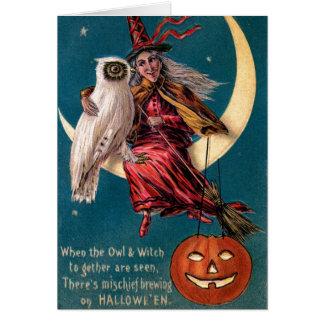 Tarjeta Bruja de Halloween del vintage