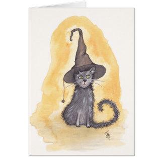 Tarjeta Bruja del gatito de Halloween