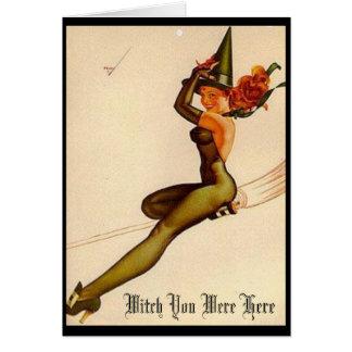Tarjeta Bruja del vintage, bruja usted estaba aquí