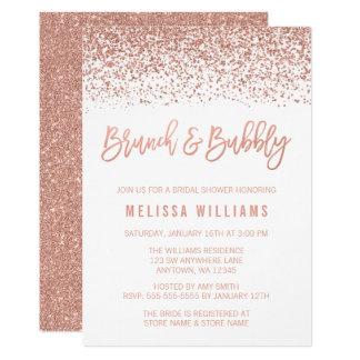 Tarjeta Brunch color de rosa del purpurina del oro y ducha