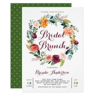 Tarjeta Brunch nupcial de la guirnalda floral del otoño de