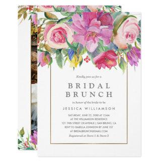 Tarjeta Brunch nupcial floral de la acuarela de la foto