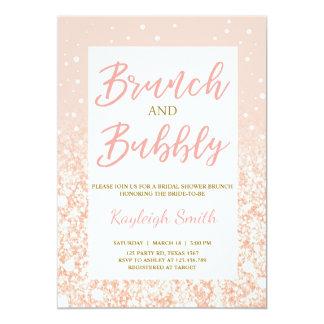 Tarjeta Brunch y oro nupcial burbujeante del rosa de la