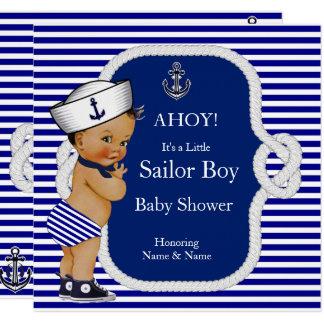 Tarjeta Brunette de la raya azul del muchacho de marinero