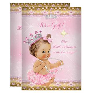 Tarjeta Brunette de la tiara del oro del tutú del rosa de