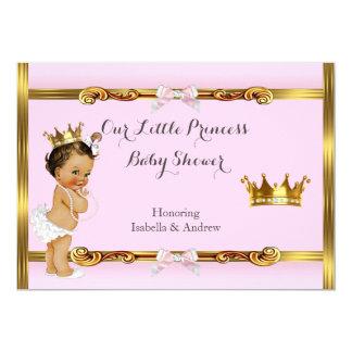 Tarjeta Brunette del chica del oro del rosa de la princesa