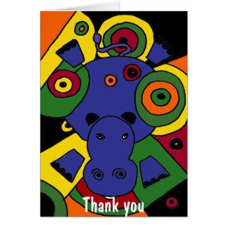 Tarjeta BT el arte abstracto del hipopótamo le agradece