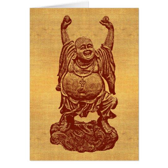 Tarjeta Buda de risa + ¡su texto! (rojo oscuro en el