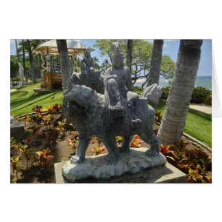 Tarjeta Buda que monta una estatua del león, Waikoloa,