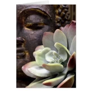 Tarjeta Buda sereno con el Succulent